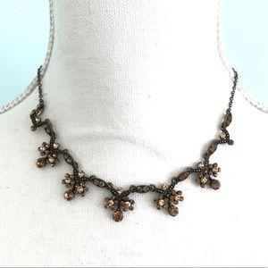 Volm vintage brown copper flower necklace